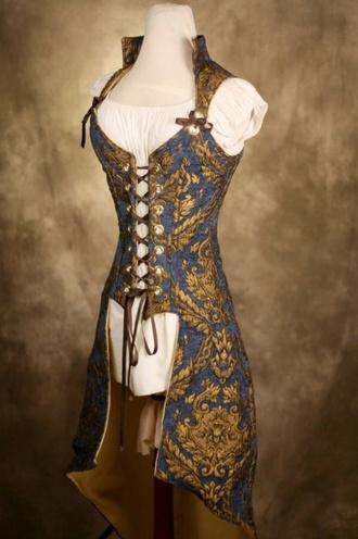 coat gold corset vintage fantasy