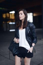 moderosa,jacket,leather jacket,shorts