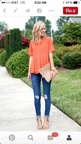 top jeans orange
