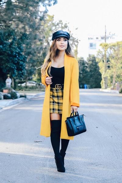 dulce candy blogger coat skirt shoes hat bag belt yellow coat handbag yellow skirt gucci belt thigh high boots fisherman cap fall outfits