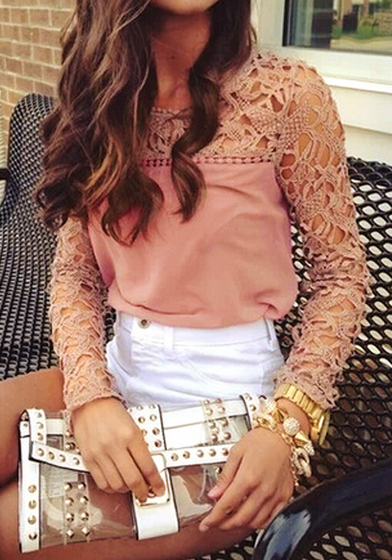 Neutral Pink Crochet Shoulder Top - Lookbook Store
