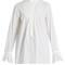 Pintucked cotton-poplin blouse