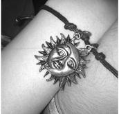 jewels,couple,friendship,moon,bracelets,sun,moon and sun