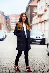 shoes,tumblr,new balance,red sneakers,denim,jeans,black jeans,coat,blue coat,shirt,white shirt,burgundy