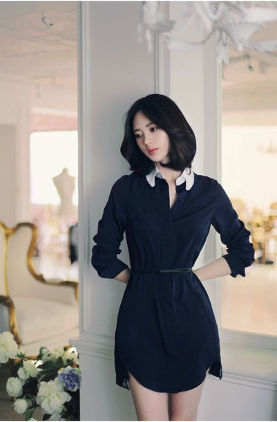 dress navy dress yun seon young korean celebrities korean style