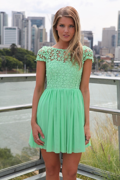 Green Party Dress - Green Embroidered Lace Top Dress | UsTrendy