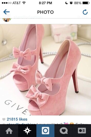 shoes peep toe cute pink bow heels