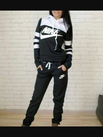jumpsuit nike black and white hoodie sweatpants