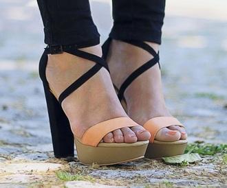 shoes platform shoes high heels black orange beige straps sandals chunky chunky sole chunky heels