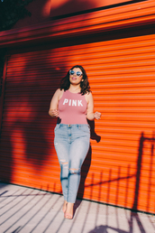 jay miranda,blogger,jeans,pants,plus size jeans,ripped jeans,curvy,plus size,bodysuit,quote on it,pink,sunglasses,cat eye