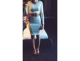 dress two-piece mini skirt top casual matching skirt and top matching set matching pieces longarmed dress