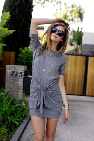 grey tie front shirt dress casual t-shirt dress draped