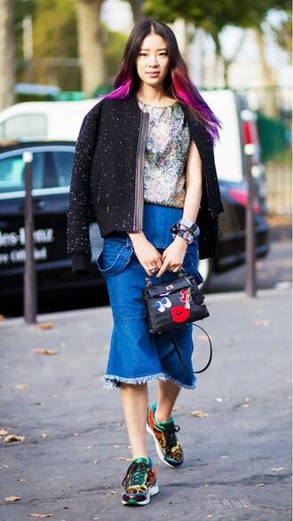 bag embellished skirt frayed denim frayed skirt frayed denim skirt midi skirt denim skirt blue skirt sneakers multicolor jacket black jacket rainbow hair mermaid hair embellished bag