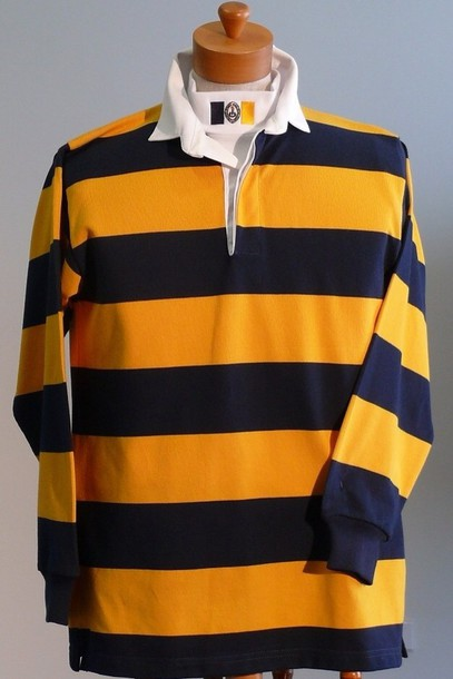 sweater rugby jersey yellow stripes
