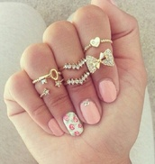 jewels,ring,bow,heart,stars,gold,diamonds,key,pink,girly,vintage,rosy,knuckle ring,jewerly,wanting,gold ring,rings and tings