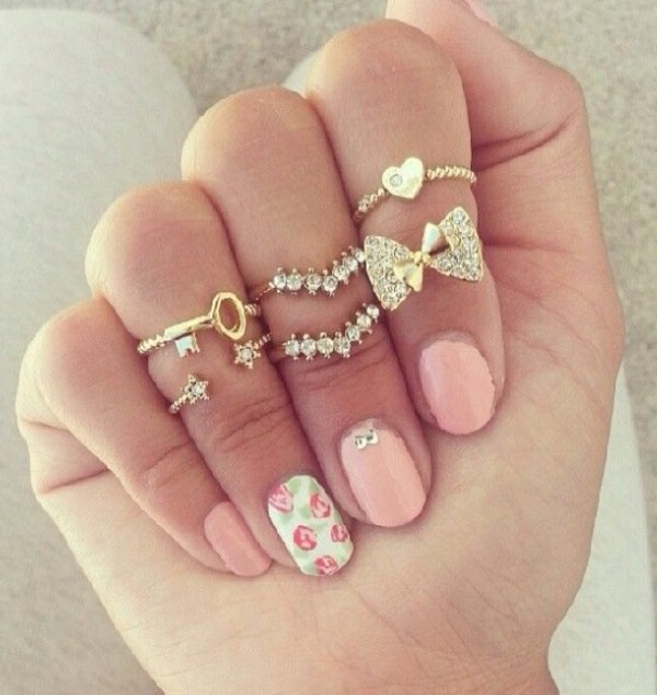 jewels ring bow heart stars gold diamonds key pink girly vintage rosy knuckle ring jewerly wanting gold ring rings and tings