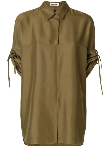 shirt short women silk green top