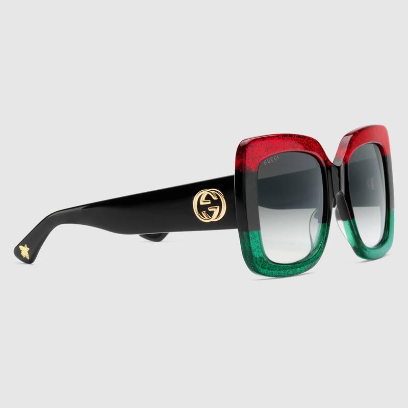 de1d9462081 Gucci - GG0083S Glitter Red Black Glitter Emerald Sunglasses