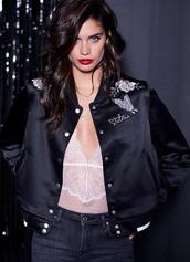 jacket,bodysuit,lingerie,sara sampaio,model