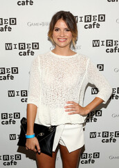 shelley hennig,top,pullover,tumblr clothes,tumblr sweater,white,white pullover,white sweater,teen wolf,the secret circle,red carpet,elegant,spring outfits,wool sweater,clothes,girly,comfysweater,comfortable outfit,transparent shirt,white shirt,skirt,celebrities in white