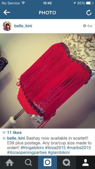 swimwear tassel towie red red bathing suit