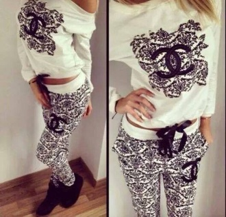 pants top hoodie jumpsuit sweatpants pajamas sleepwear black and white sweater training pants tracksuit trousers training clothes training set training gym clothing training jacket training tops style chanel tracksuit clothes jeans