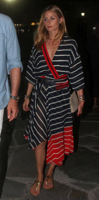 dress stripes striped dress olivia palermo blogger sandals wrap dress asymmetrical dress