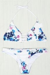 swimwear,zaful,flowers,floral,bikini,beautiful,pretty,style,strappy,white,blue,fashion