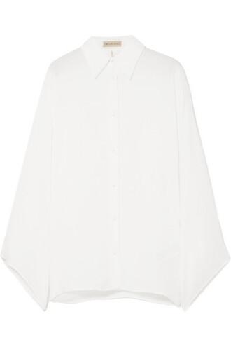 blouse white silk top