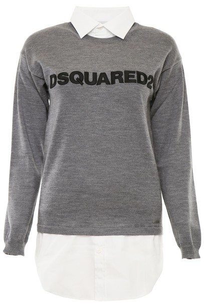 Dsquared2 pullover embroidered wool grey sweater