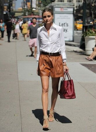 shoes aquazzura aquazzura sandals sandals high heel sandals nude sandals cut out sandals shorts leather shorts brown shorts belt black belt summer outfits shirt white shirt bag red bag handbag olivia palermo celebrity