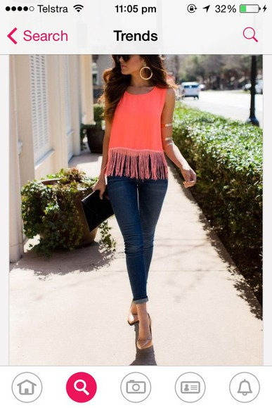 orange dress fashion top jeans sunglasses