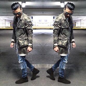 jacket maniere de voir camouflage coat shirt ripped 36683