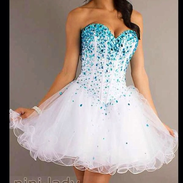 dress white dress blue sparkles cardigan homecoming dress
