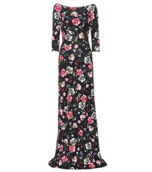 Erdem Valentina floral-printed ponte gown in black