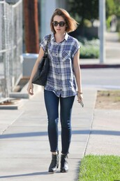 lily collins,shoes,shirt,jeans,bag,sunglasses