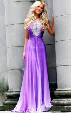 Chiffon Sexy A-line Halter Sleeveless Long Prom Dress Online|KissyDress UK