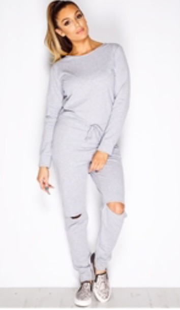 e4f4f3574fb pants joggers ripped knee jumpsuit slit grey sweater luxury loungewear  jumpsuit outfit outfit idea grey comfy