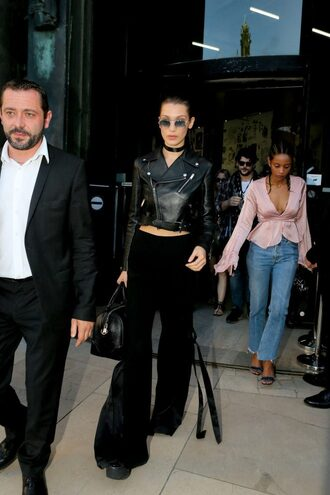 pants jacket biker jacket crop tops sunglasses bella hadid model fashion week 2016 purse bag all black everything givenchy bag