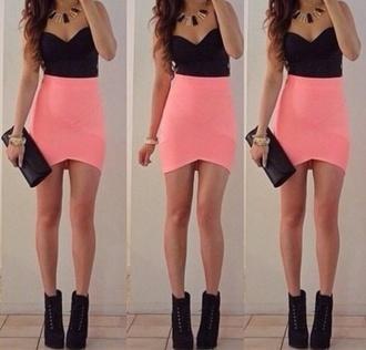 dress black crop top pink skirt little black dress party dress salmon pink tight shoes skirt blouse