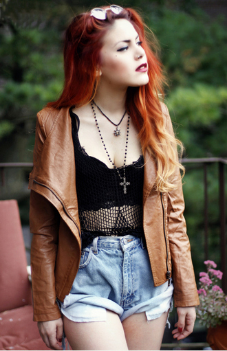 blouse grunge jacket cardigan hair red tan leather black fishnet shorts