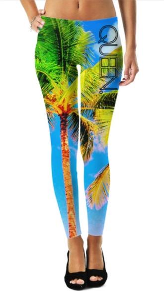 leggings tropical palm tree beach colorful cute leggings tropical leggings cute leggings colorful
