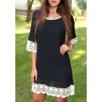 dress black lace white summer cute girly trendy clothes black lace dress rose wholesale
