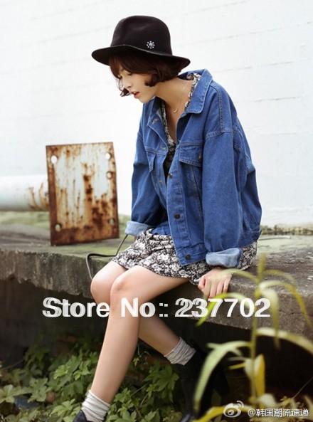 2014 new spring street style women denim jacket bat sleeved two color mazarine / wathet jean blazers casual free size