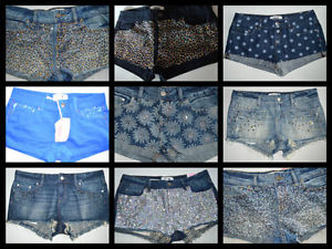 Victoria's Secret Love Pink Shorts Shortie Bling Blue Jean Shorts Cut Offs Bling | eBay