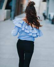 top,tumblr,blue top,ruff,ruffled top,off the shoulder,off the shoulder top,denim,jeans,black jeans,hair,hairstyles,long hair,brunette