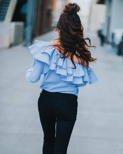 Top Tumblr Blue Top Ruff Ruffled Top Off The Shoulder Off The