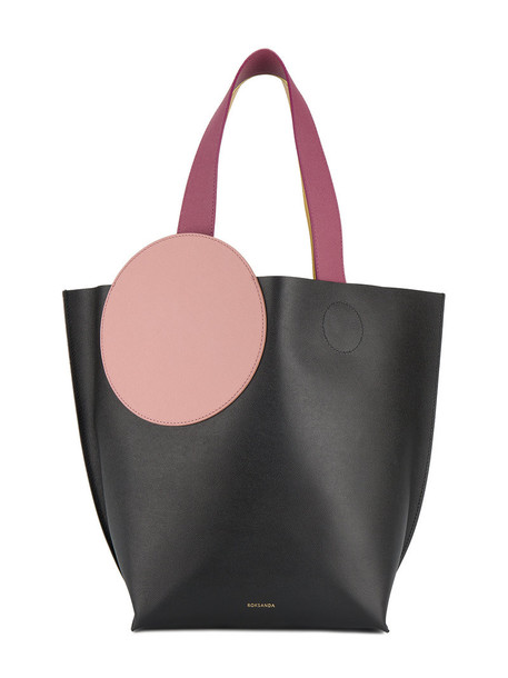 Roksanda - Elder leather tote with circle patch - women - Calf Leather - One Size, Black, Calf Leather