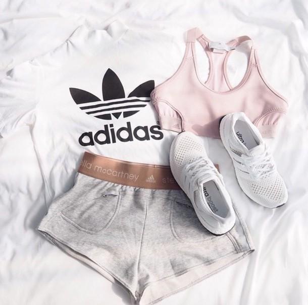 3b2a8474ad shorts adidas nude shoes stella mccartney sports bra sports shorts nike  pink summer.