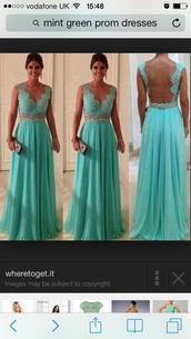 dress,mint green prom dress lace